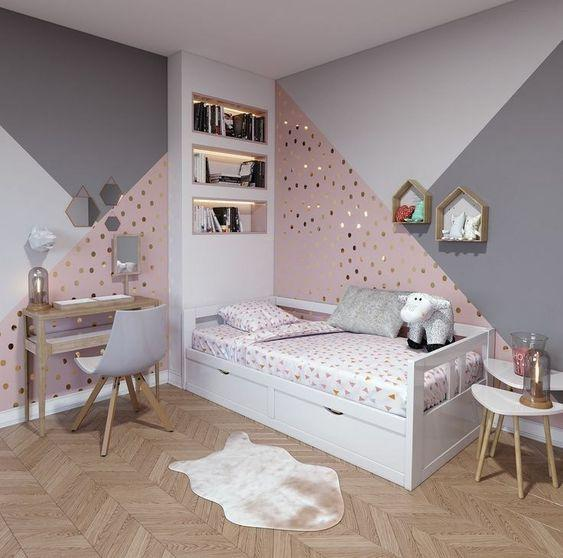 Glittery and Geometric - Girls Bedroom Decor Ideas