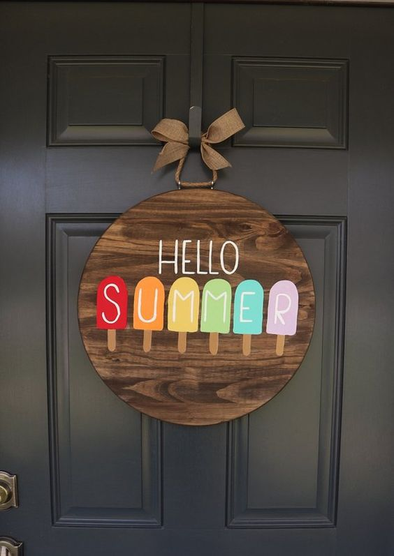 Colourful Popsicles - Cute Summer Door Wreaths