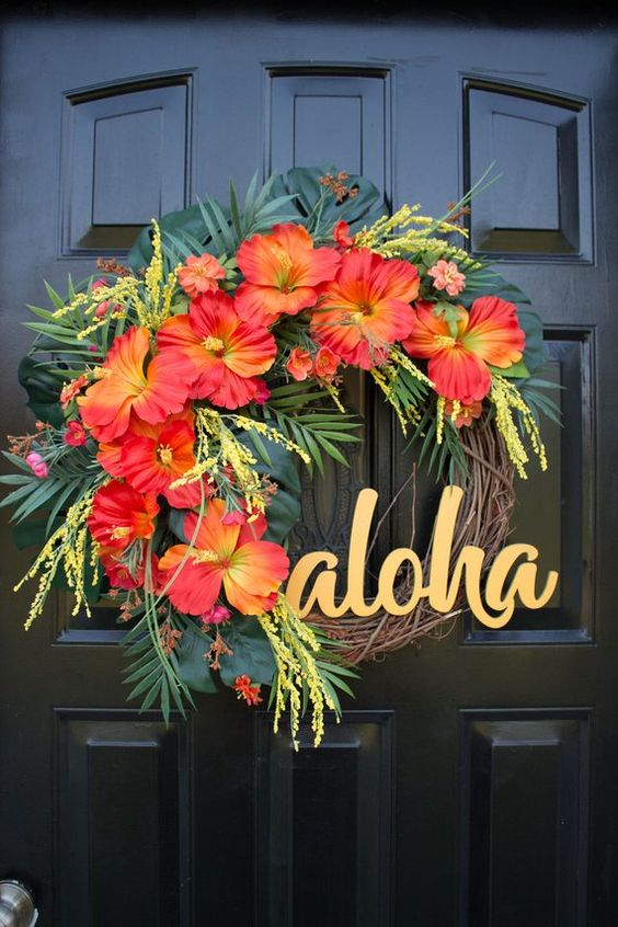Exotic and Tropical - Summer Wreaths for Front Doors