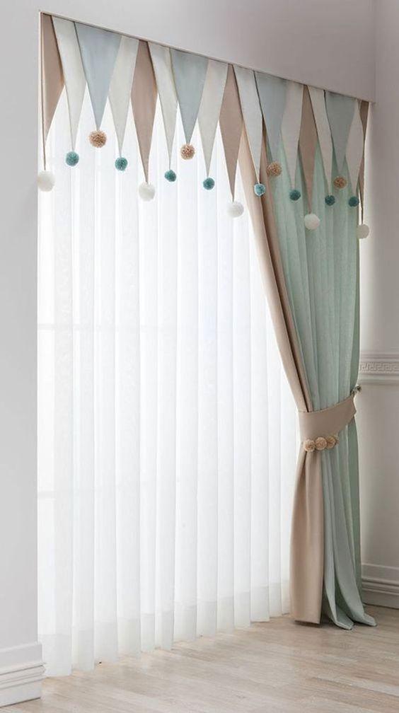 Cute Pompoms - Bedroom Curtain Ideas