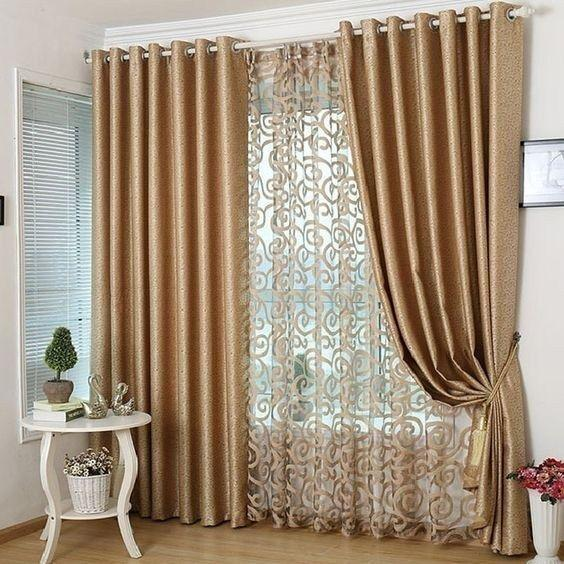 Glittering in Gold - Bedroom Window Curtains