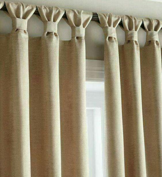 Burlap Curtains with Ruched Tabs - Bedroom Window Curtains