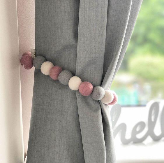 A Cute Curtain Wrap - Pompoms or Felt Balls