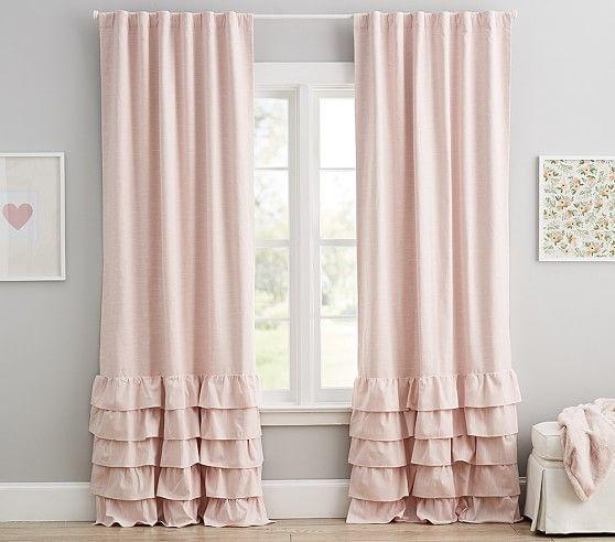 Adding Ruffles - Bedroom Window Curtains