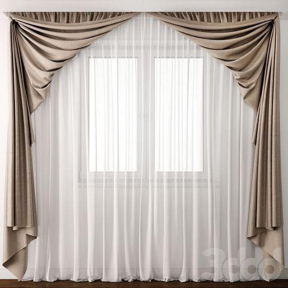 Brown and White – Lovely Bedroom Window Curtains