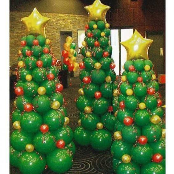 Balloon Christmas Trees - Christmas Party Decoration Ideas