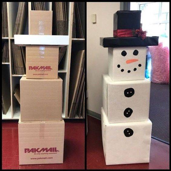 Simple Snowmen - Reuse Some Cardboard Boxes