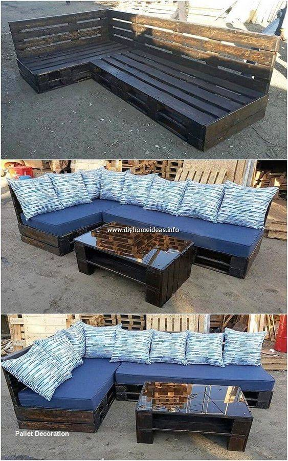 Pallet Couches and Coffee Table - DIY Garden Furniture