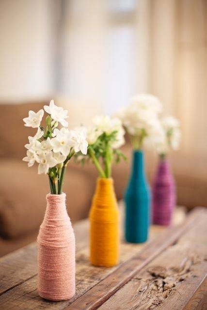 Wrapped in Yarn - Spring Table Centrepieces