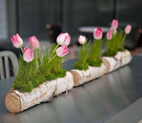 Log Vases - Spring Floral Table Decor