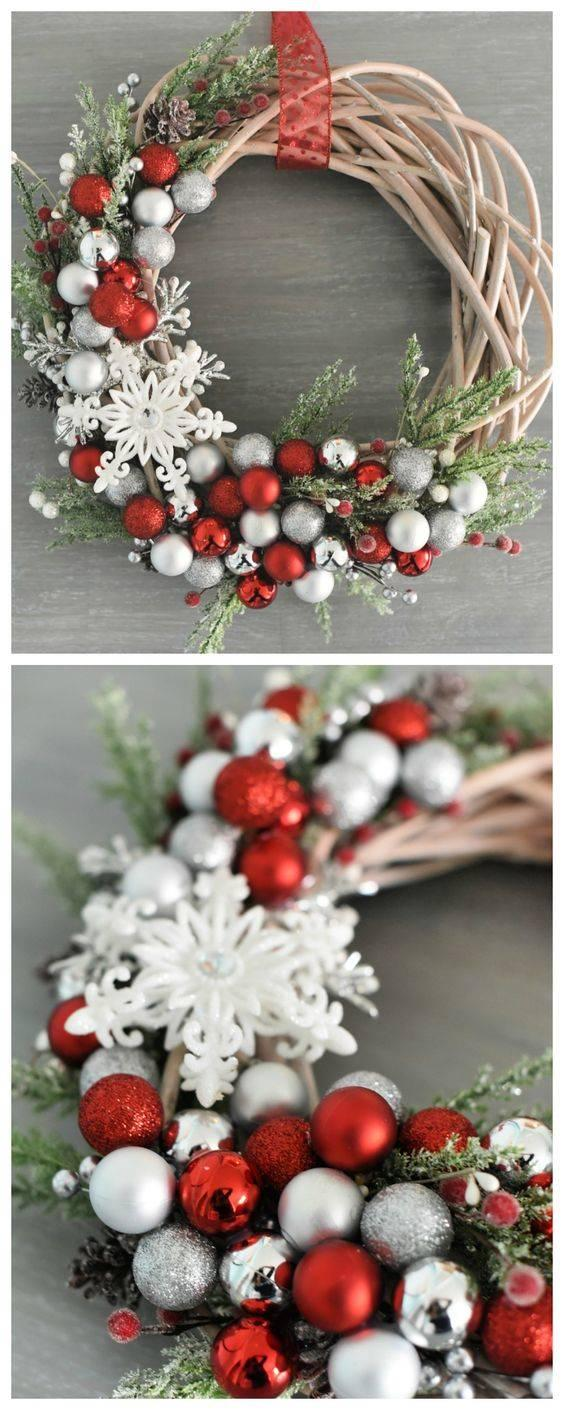 Ornaments and Holly - Christmas Door Wreaths