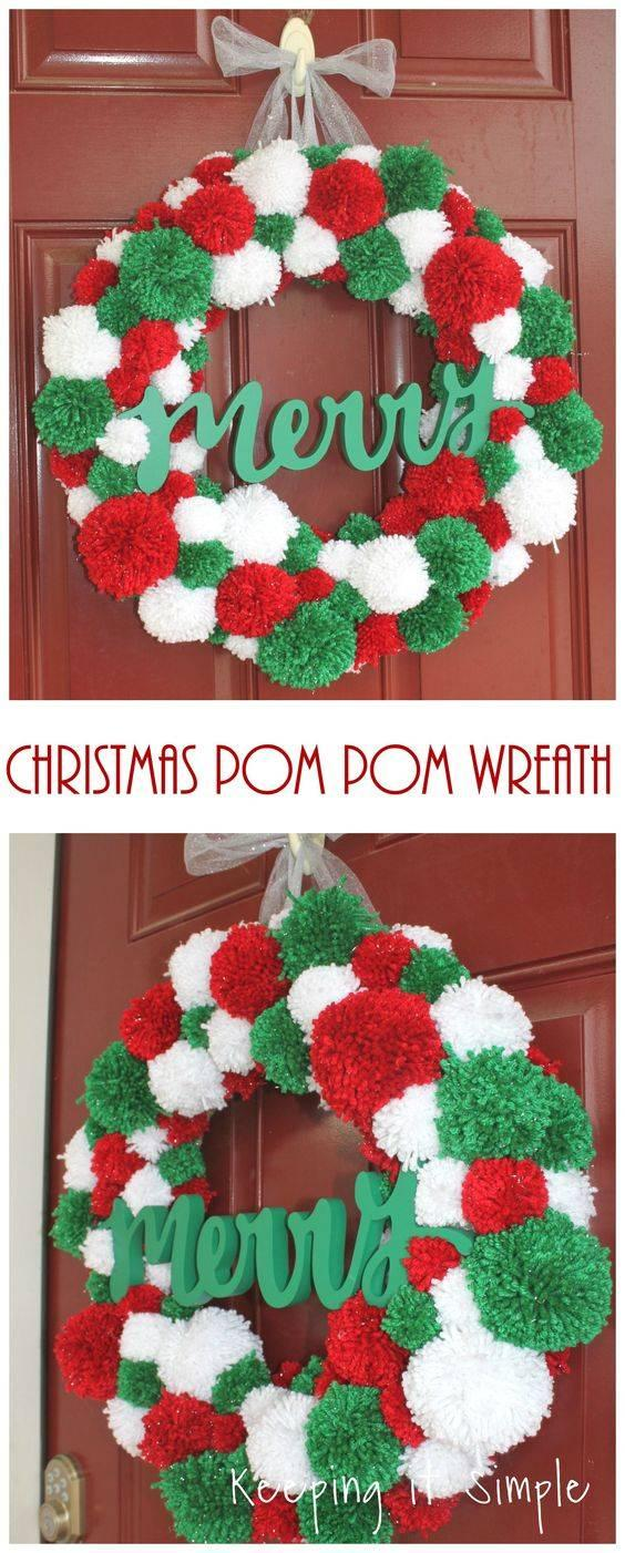 Christmas Pompoms - Red, White and Green