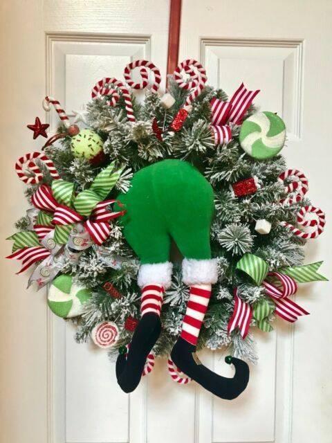 A Little Bit Stuck - Cute Christmas Door Decorations