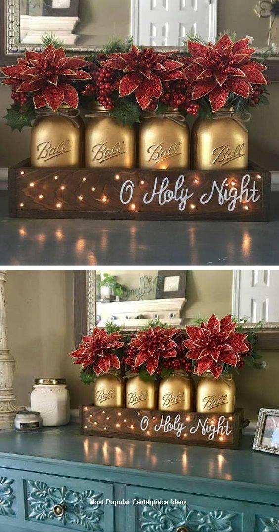 Mason Jar Vases - Homemade Christmas Table Decorations