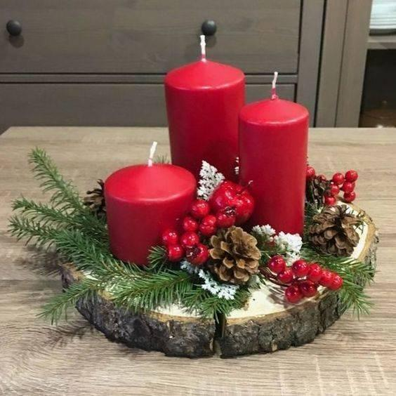 A Set of Red Candles - Traditional and Homely