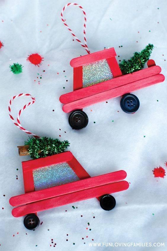 Red Popsicle Trucks - DIY Christmas Tree Decorations