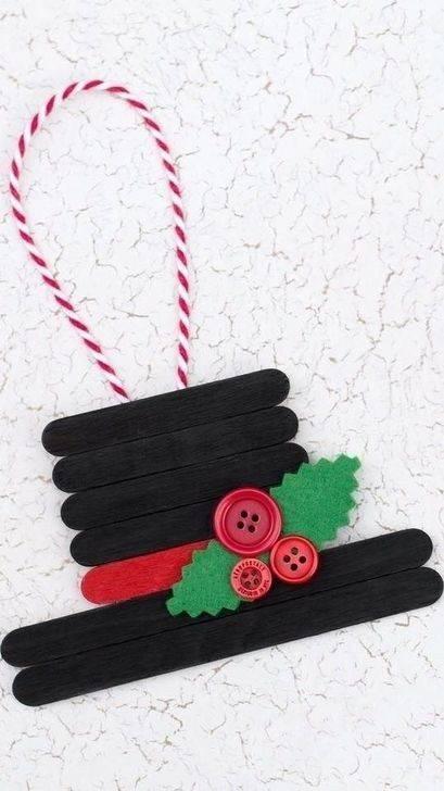 Popsicle Snowman Hat - DIY Christmas Tree Decorations