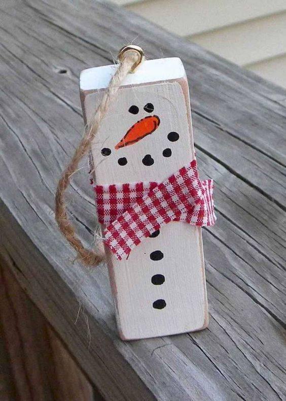 Transform a Wooden Block - Into a Snowman