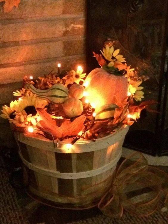 Lights and Pumpkins - Fall Decorating Ideas for Outside