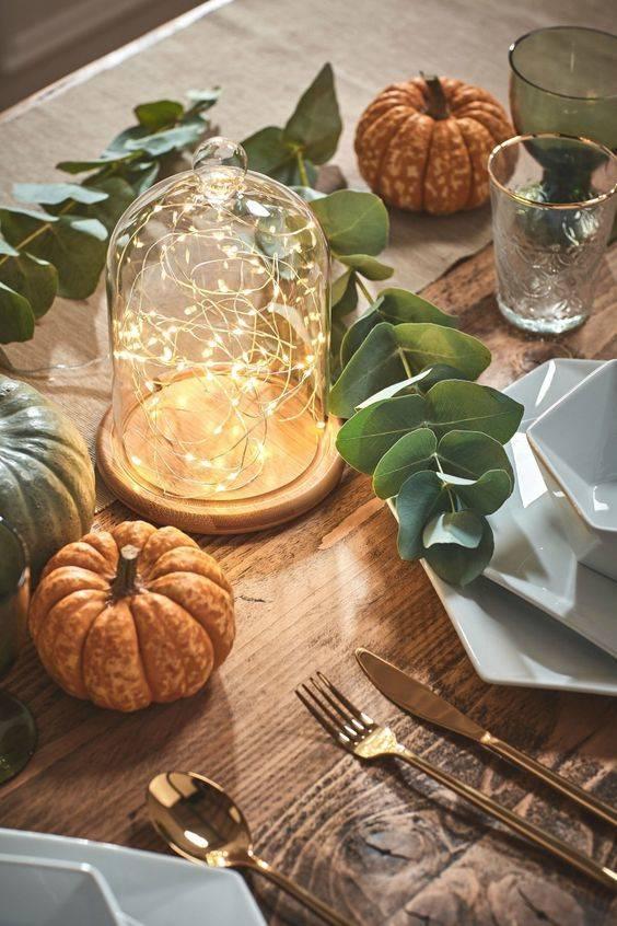Dome of Fairy Lights - Fall Table Decor Ideas
