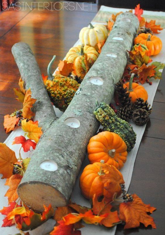 Wood and Pumpkins - A Unique Candle Holder