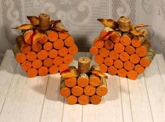 Cork Pumpkins - Recycling Old Things