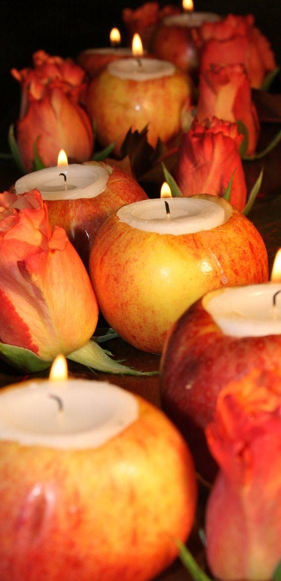 Apple Candle Holders – Fall Table Centrepieces