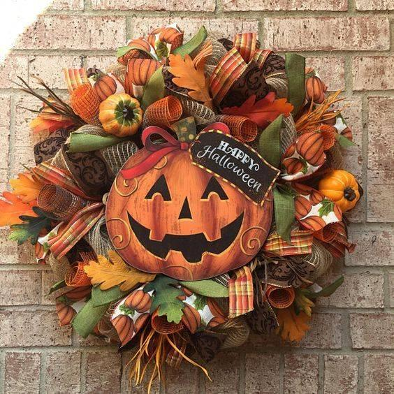 A Happy Halloween - Fall Wreath Ideas for Front Doors