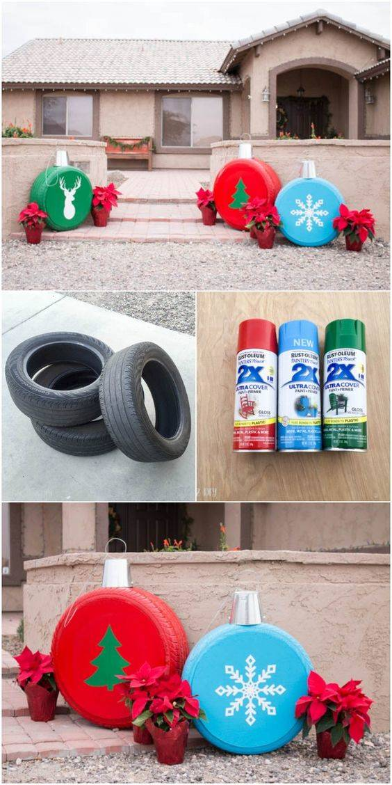 Reusing Old Tires - Create Christmas Tree Ornaments