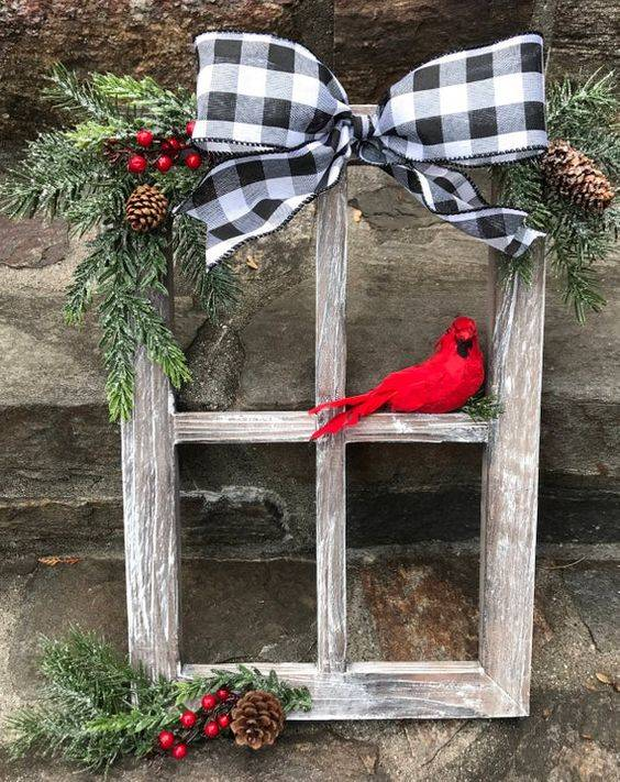 A Rustic Ambience - A Christmas Window Pane