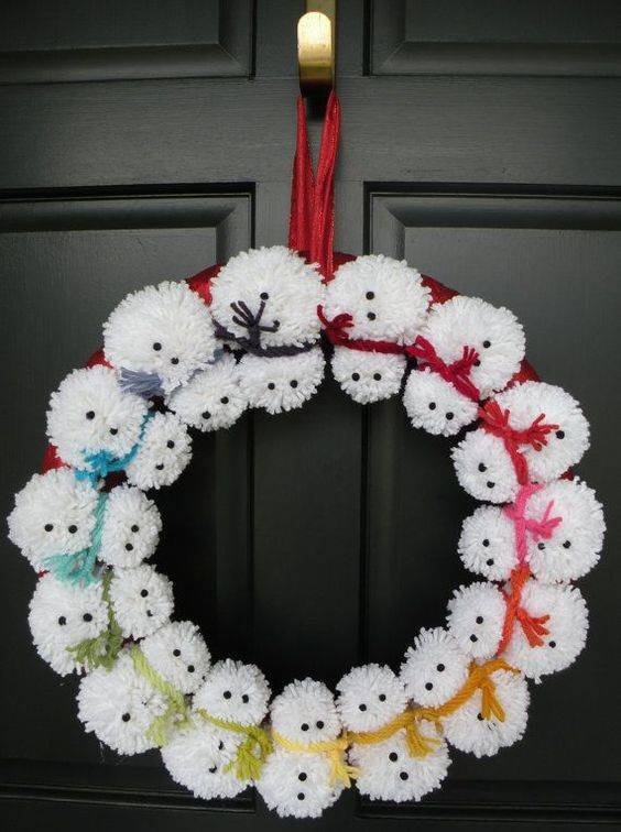 A Rainbow of Snowmen - Creative with Pompoms