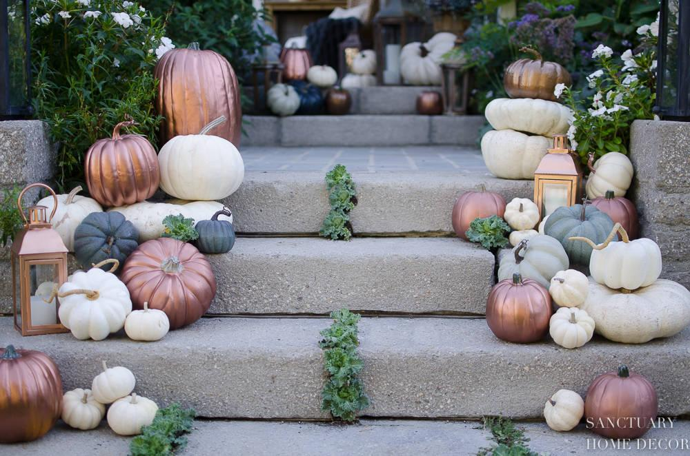 Scattered on Stairs - Halloween Pumpkin Decorations