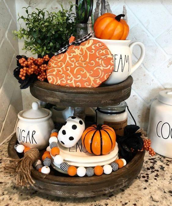 A Tiered Tray - Halloween Pumpkin Decorations