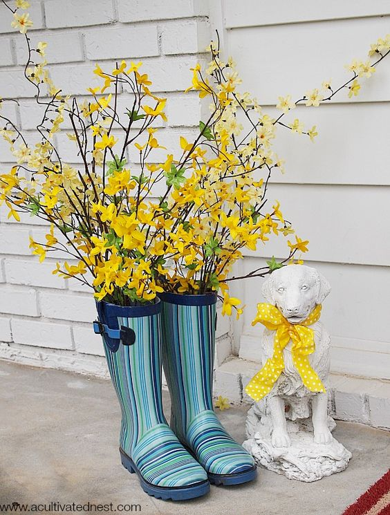 Rain Boots - Adorable Spring Outdoor Decorations
