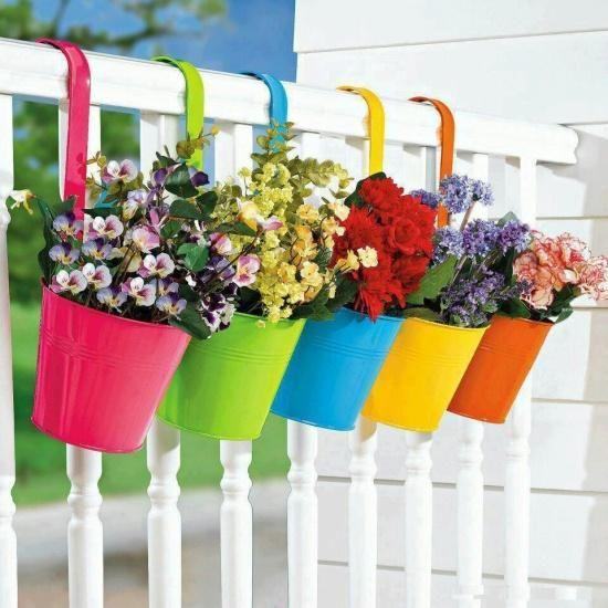 Hanging Planters - Colour in a Rainbow