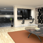 A living room filled with furniture and a flat screen tv Description automatically generated