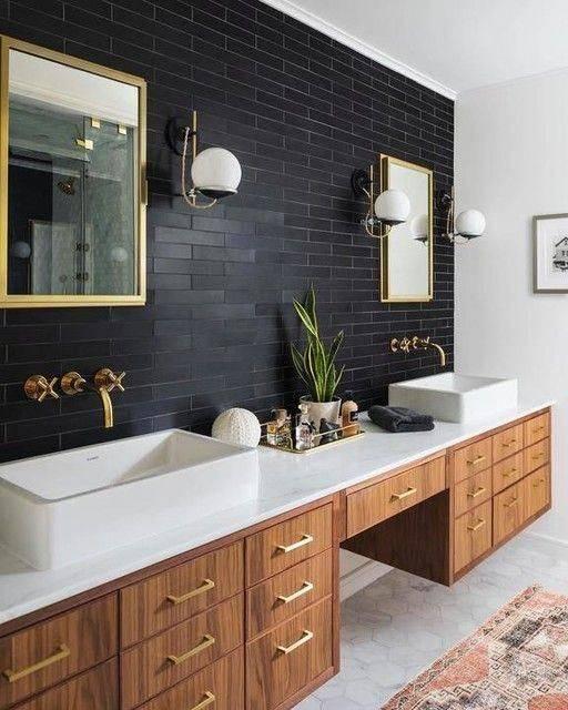 A Black Tiled Wall - Modern Master Bathroom Designs