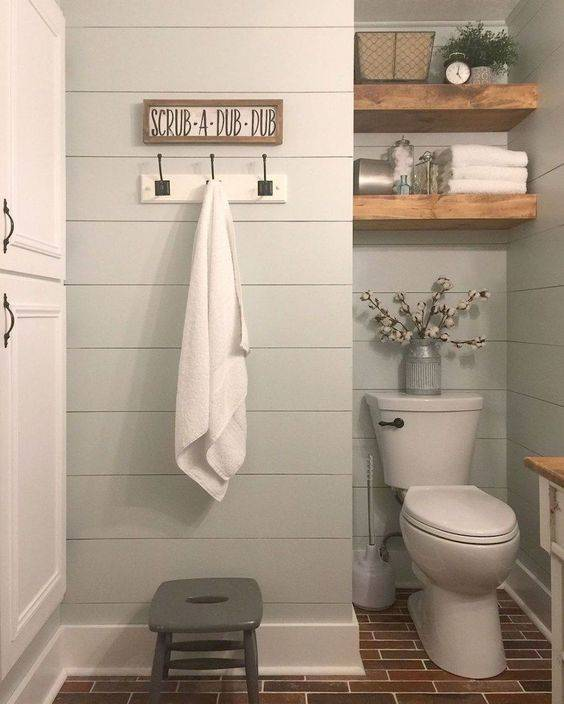 Adding Floating Shelves - Small Bathroom with Storage