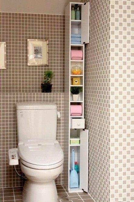 A Slim and Tall Shelf - Bathroom Storage Ideas for Small Spaces