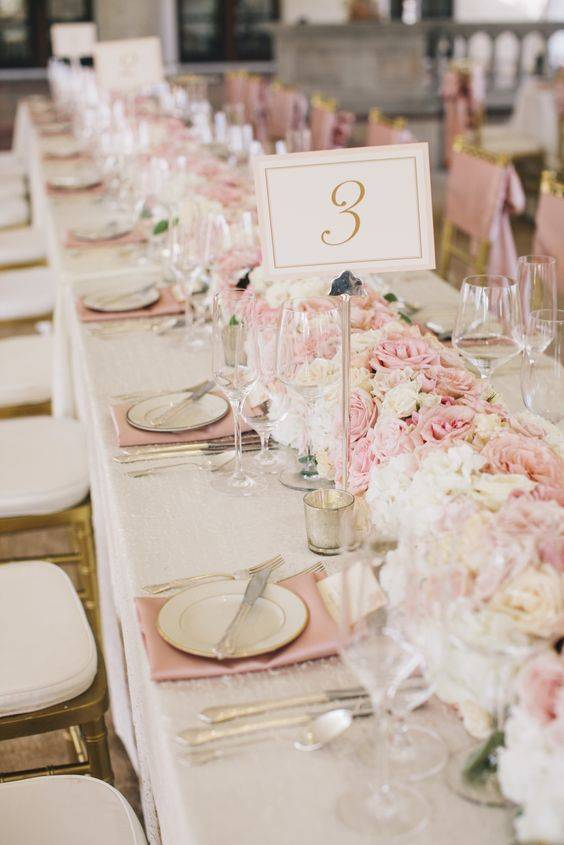 A Row of Flowers - Wedding Table Decoration Ideas