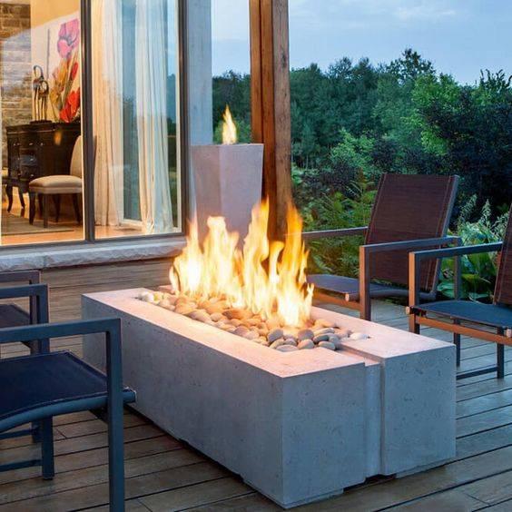 A Rectangular Fire Pit - Outdoor Fire Pits