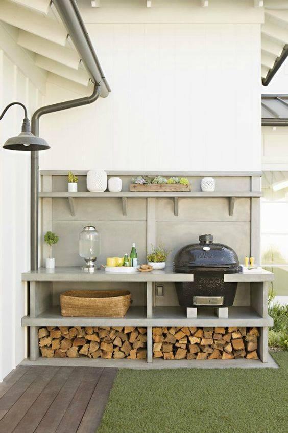 Building an Array of Shelves – Outdoor Grill Island Ideas