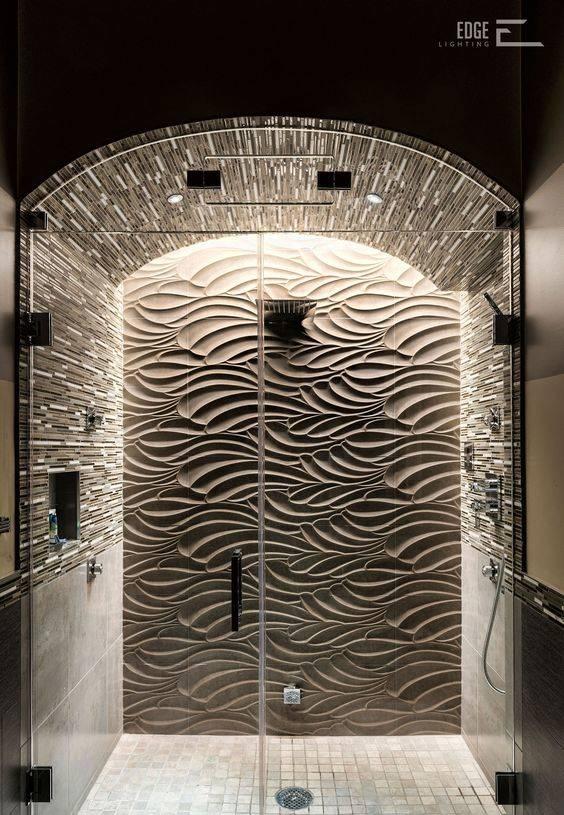 Wave Patterned Tiles - Best Lighting for Bathroom