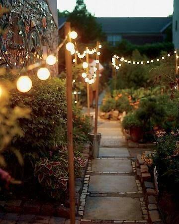 Rows of Fairy Lights - Backyard Lighting Ideas