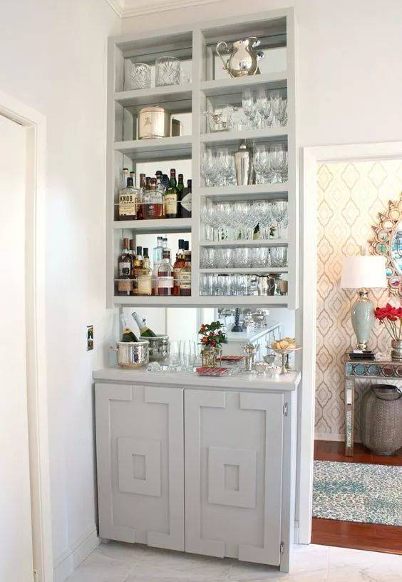 Wonderful in White - Modern Home Bar Ideas