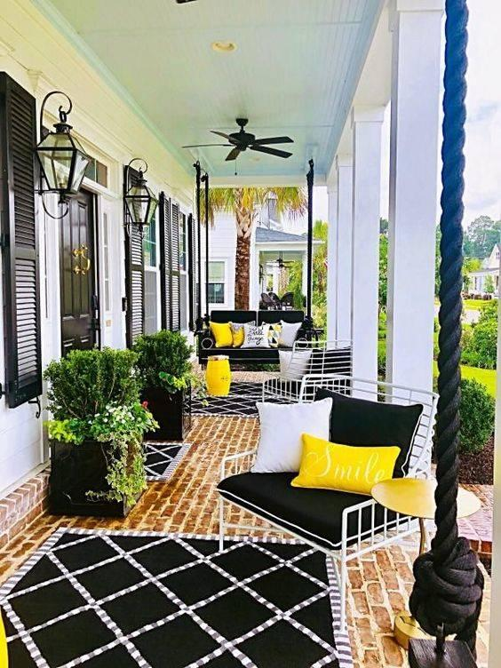 Black and Yellow - Small Front Porch Decorating Ideas on a Budget