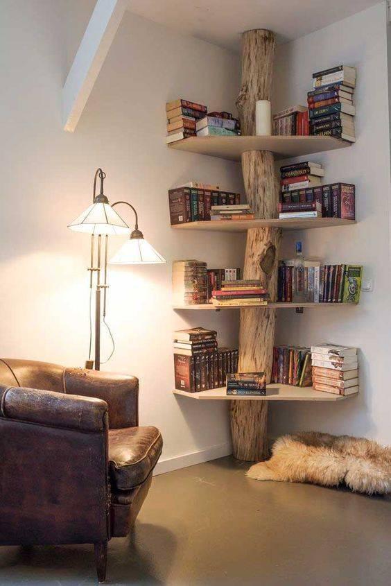 A Cabin-like Ambience - Bedroom Bookshelf Ideas
