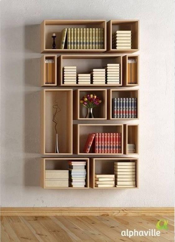 Floating Open Boxes - Bedroom Bookshelf Ideas