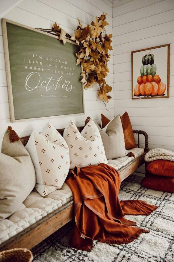 Adding an Autumn Message - Fall Living Room Decor Ideas