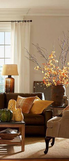 A Vase of Autumn - Fall Living Room Decor Ideas